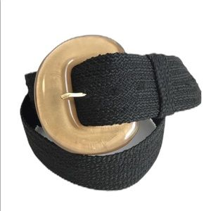 Vintage Black Woven Belt Large Gold Buckle Braided